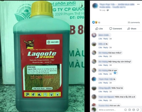 Sản phẩm có chứa hoạt chất cấm Paraquat vẫn được rao bán trên mạng